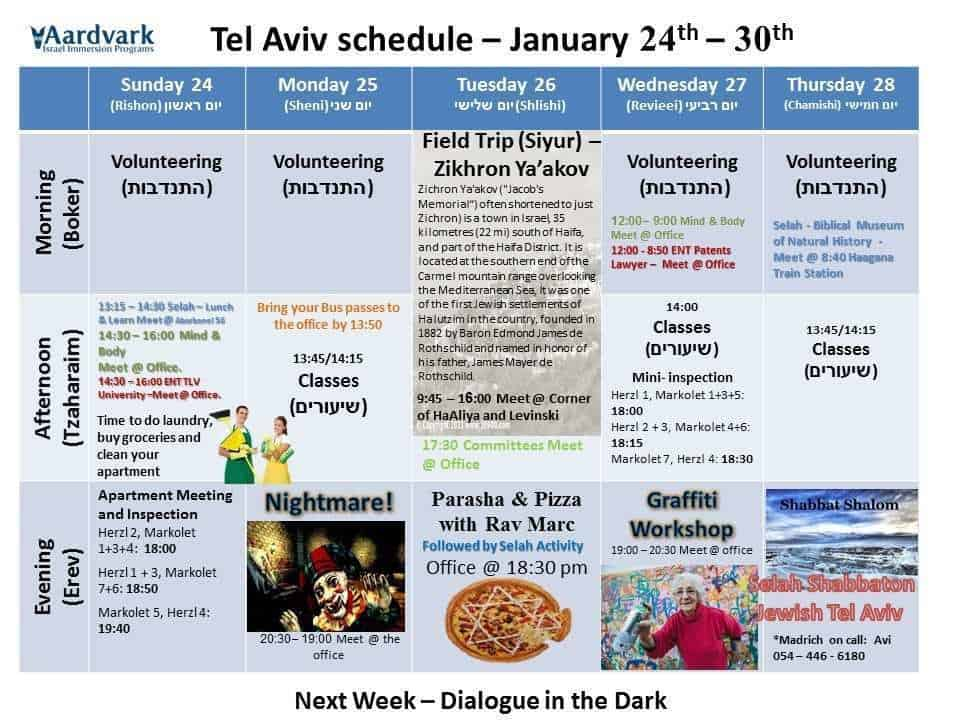 Tel Aviv January 24th - 30th
