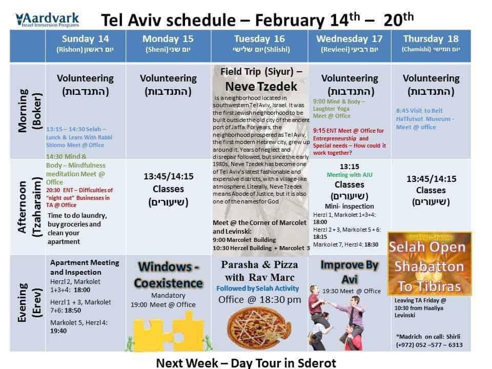 Tel Aviv February 14th - 20th