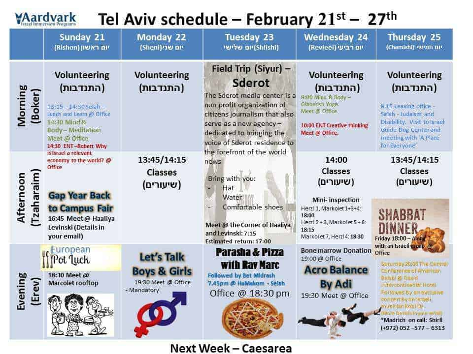 Weekly updates - tel aviv february 21, 2016