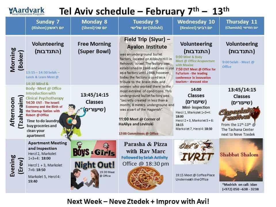 Tel Aviv February 7th - 13th