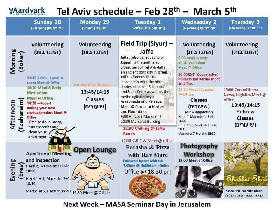 Tel Aviv March 6th - 12th