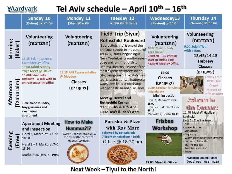 Tel Aviv April 10th - 16th