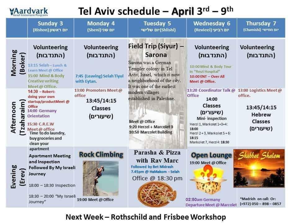 Tel Aviv April 3rd – 9th