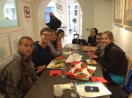 gap year program eating at  Italian pizzeria
