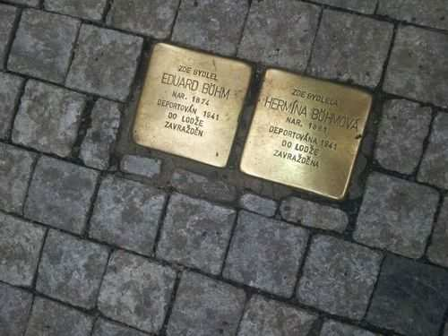 Bronze placards are placed all over Europe and here in Prague