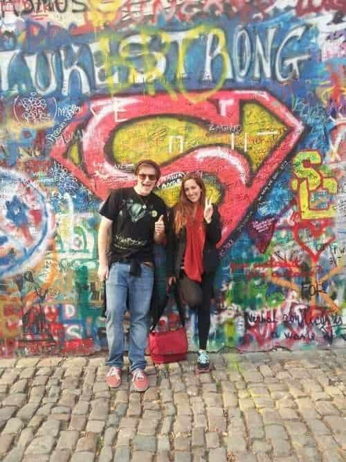 aardvark israel at the  John Lennon Wall