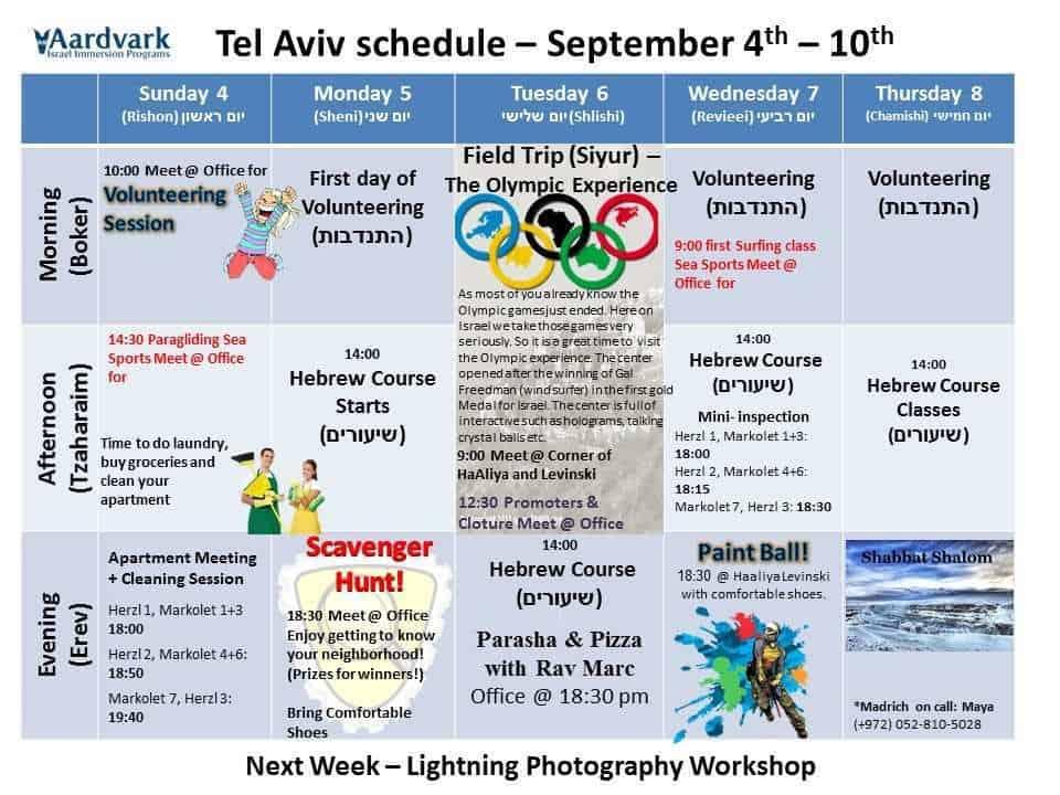 Tel Aviv September 4th - 10th