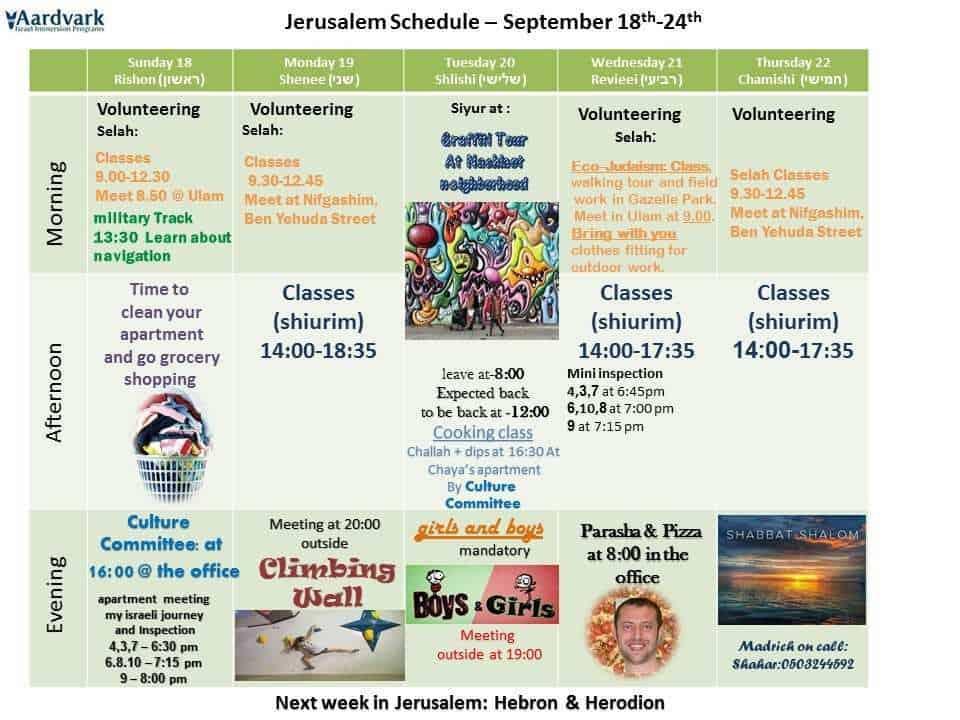 Weekly schedule sep 18 24 מעודכן 1