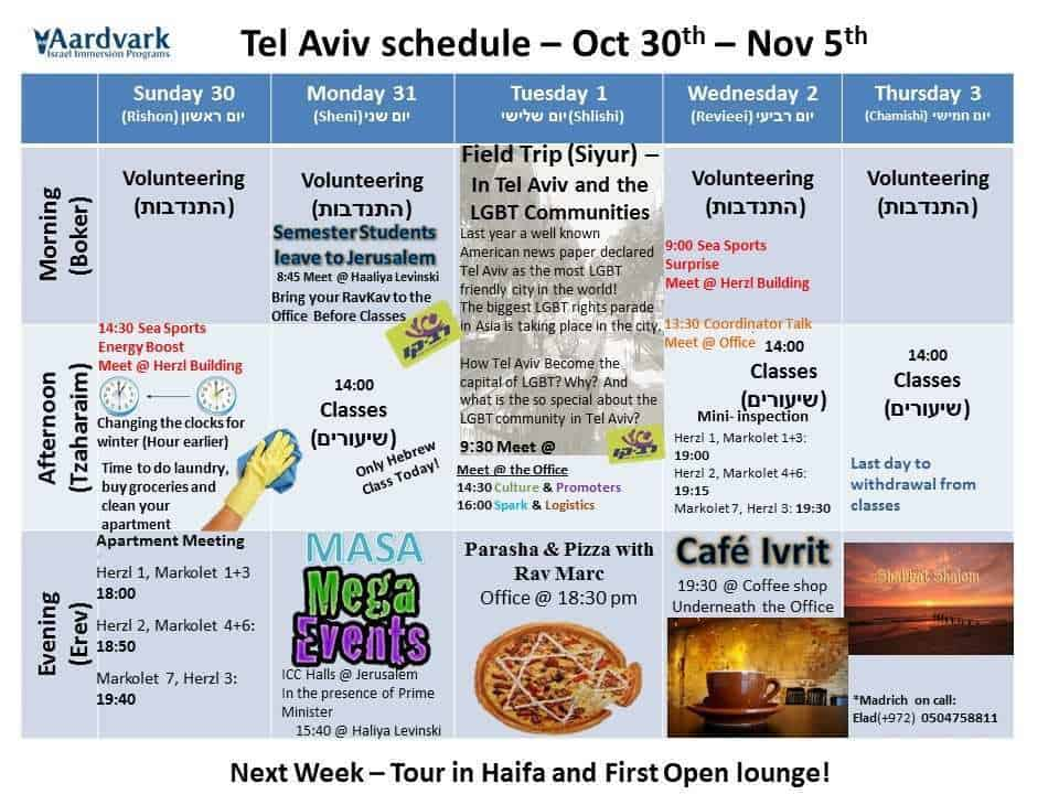 Weekly updates - tel aviv october 28, 2016