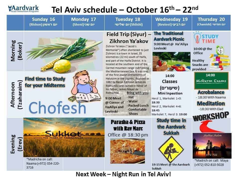 Tel aviv schedule 16th – 22nd 1