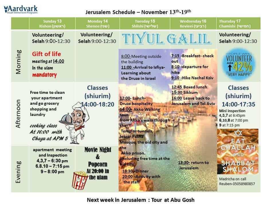 Weekly schedule november 13 19 1