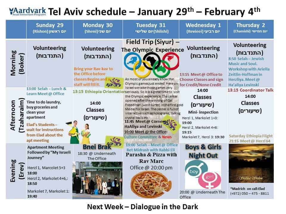 Tel Aviv - Jan 29th - Feb 4th