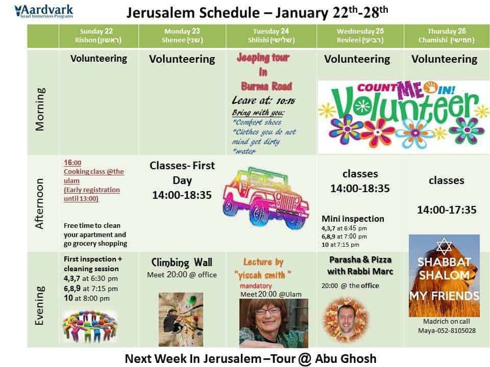Weekly Schedule January 22-28