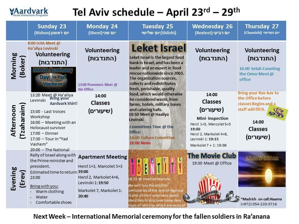 Tel aviv april 23rd – 29th 1