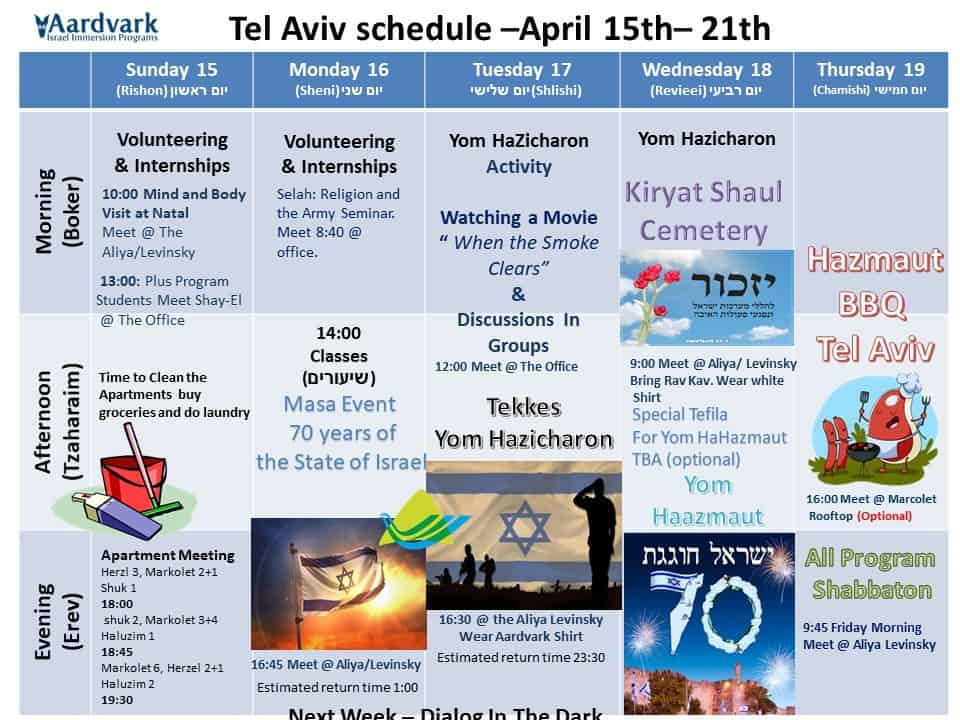 Tel aviv april 15th 21th
