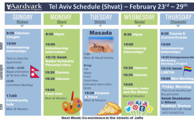 Weekly Updates – Tel Aviv February 24, 2020