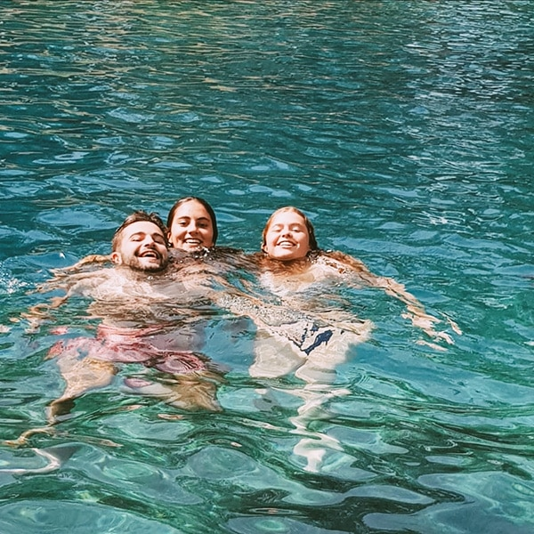 Evan McMahon, Sophie Goldberg, and Anna Bernstein going for a swim