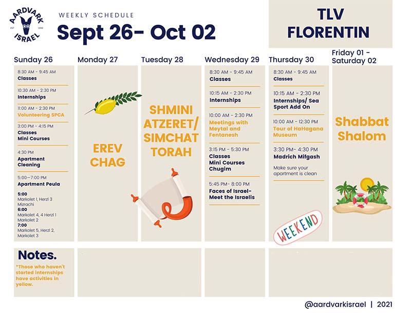 September weekly schedule- florentin