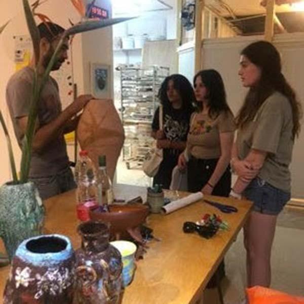 Mia, ilana, and eliana on the first day of their internship