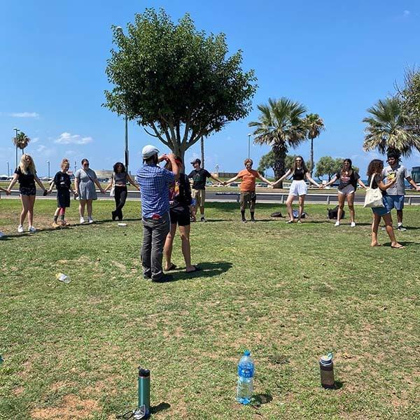 Tel-aviv students in an outdoor team-building activity