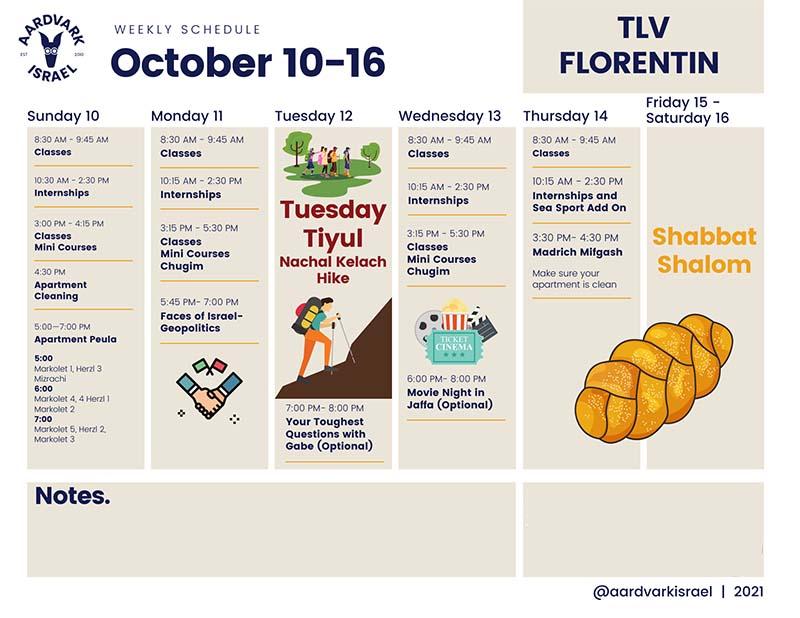 October weekly schedule- florentin
